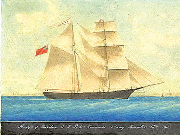 1861年無名畫家(有可能是Honore Pellegrin)繪製的亞馬遜號(後改名瑪麗賽勒斯特號)。(維基百科)