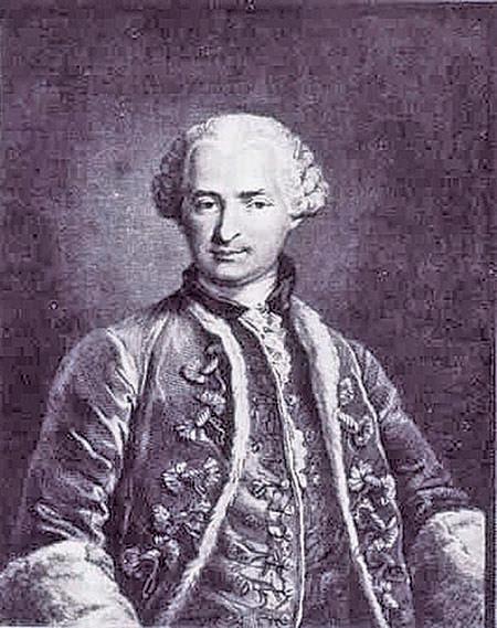 1873年托馬斯(Nicolas Thomas)根據德武爾夫侯爵夫人(Marquise d'Urfe)擁有的一幅畫像所製作的聖日耳曼伯爵雕像。(維基百科)
