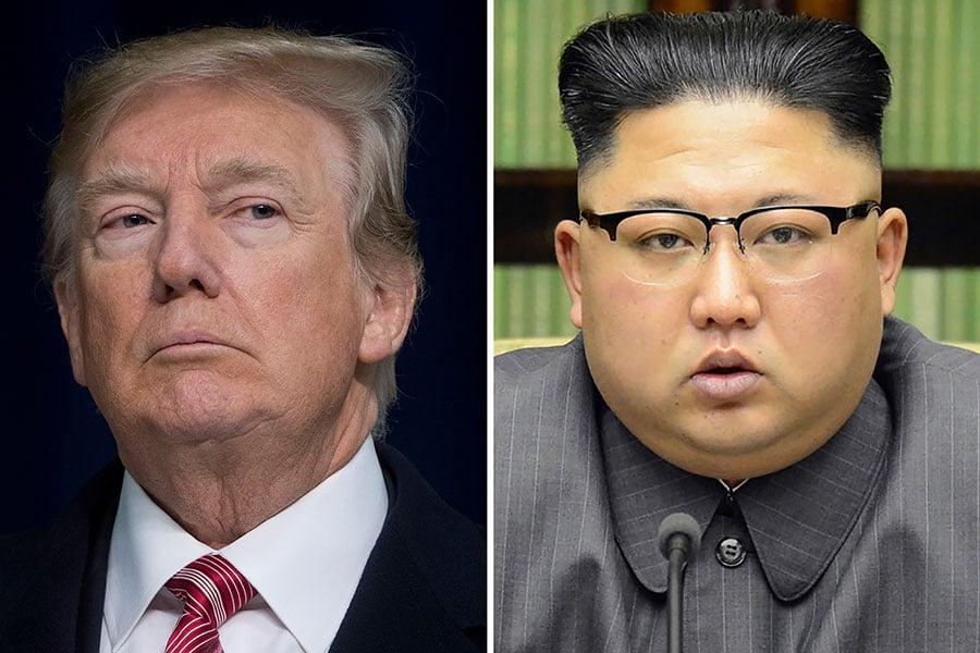 3月8日,美國總統特朗普(左)稱同意跟北韓領導人金正恩(右)會面。(SAUL LOEB/AFP/Getty Images)