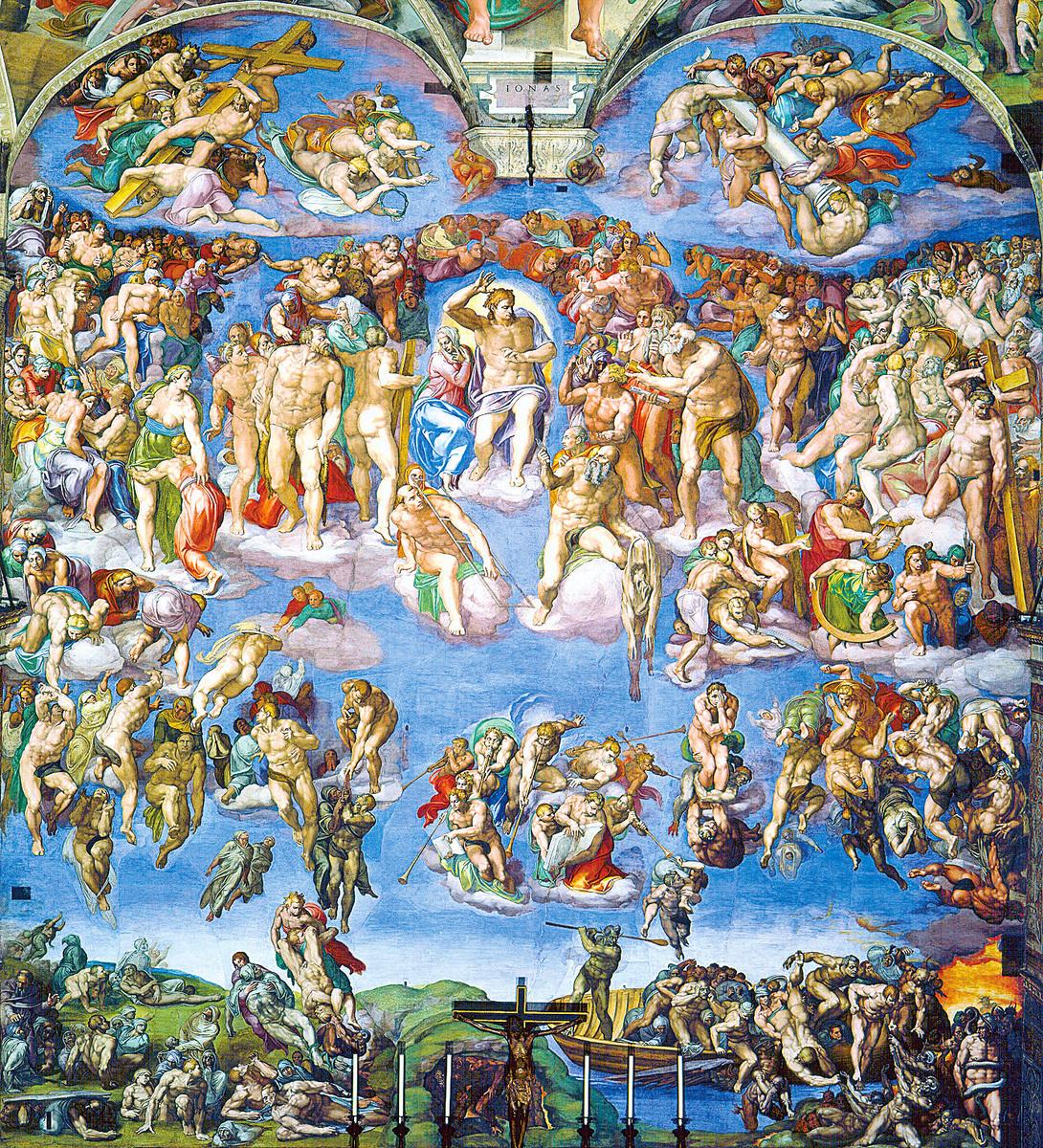 米高安哲羅於公元1534年至公元1541年,為西斯汀禮拜堂繪製的巨幅作品《最後的審判》。