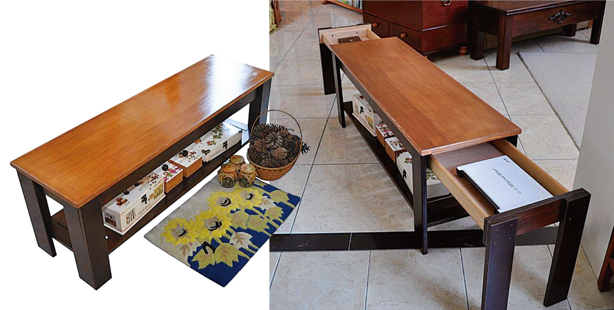 一張看似平凡的鄉村風長板凳(左圖)。將兩邊椅腳拉開,居然是可以收藏私秘物件的小抽屜(右圖)。(詹姆士提供)