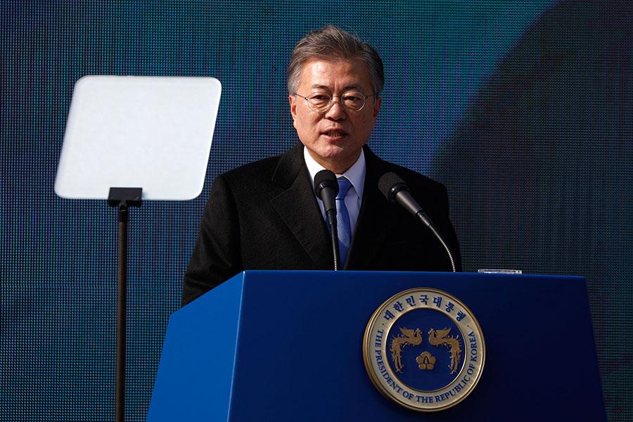 圖為南韓總統文在寅。(KIM HONG-JI/AFP/Getty Images)