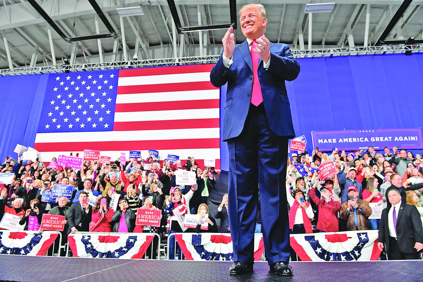 特朗普在賓州的集會上對和金正恩會面的前景表示樂觀,稱可能達成「對全世界最有利的協議」。(AFP)