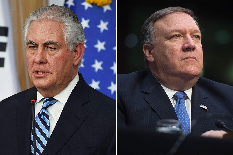 圖為新任美國國務卿蓬佩奧(右)與剛剛卸任國務卿的蒂勒森。(Song Kyung-Seok-Pool, SAUL LOEB/AFP/Getty Images/大紀元合成)