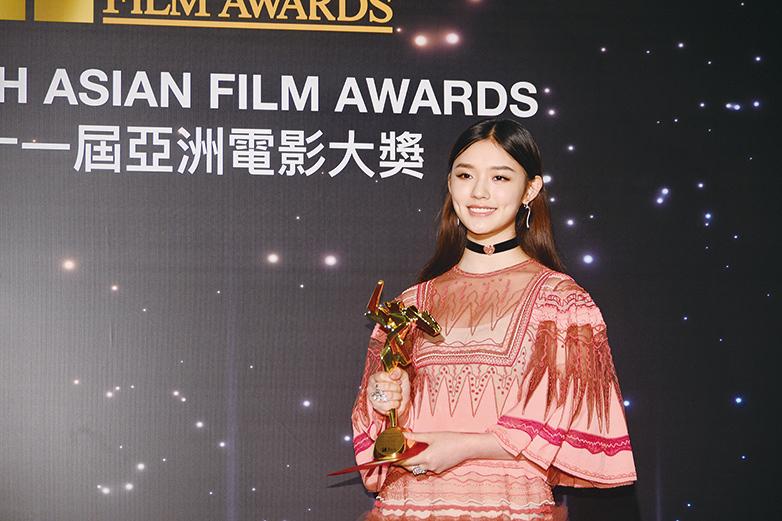 林允曾憑《美人魚》於亞洲電影大獎中獲頒亞洲飛躍演員大獎,及入圍第36屆香港電影金像獎最佳新演員獎等獎項。(宋碧龍╱大紀元)