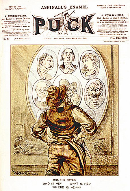 1889年9月21日於《Puck》雜誌發表,由著名漫畫家湯姆梅利所繪,描述無法確定誰是白教堂兇案兇手開膛手傑克。(維基百科)