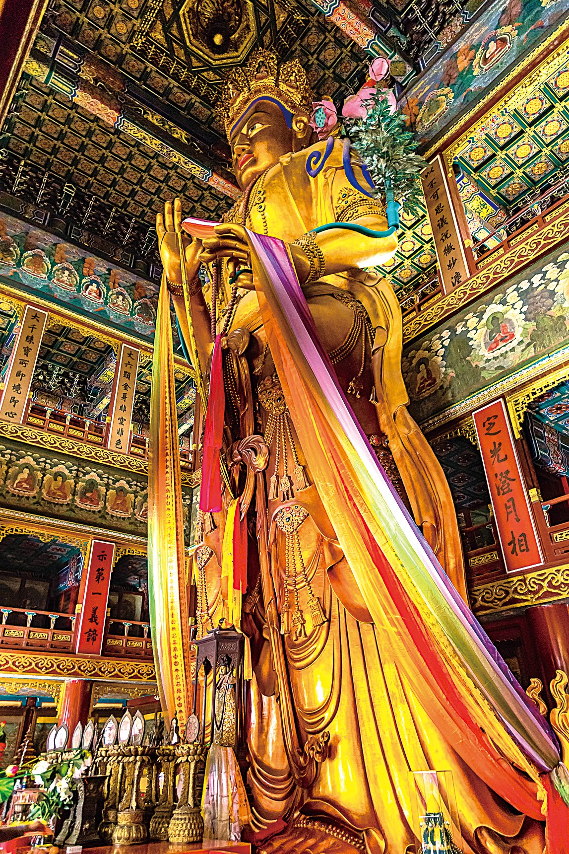 雍和宮內彌勒大佛像。