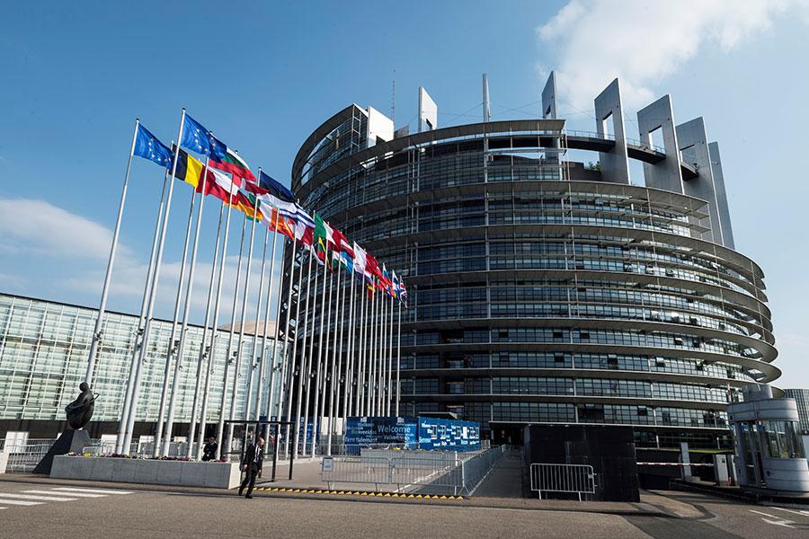 北韓領導人金正恩周六(4月21日)宣佈,不再進行核試以及中遠程導彈發射,並關閉核試場,引發全球關注。圖為歐洲議會位於法國史特拉斯堡(Strasbourg)的大樓。(SEBASTIEN BOZON/AFP/Getty Images)
