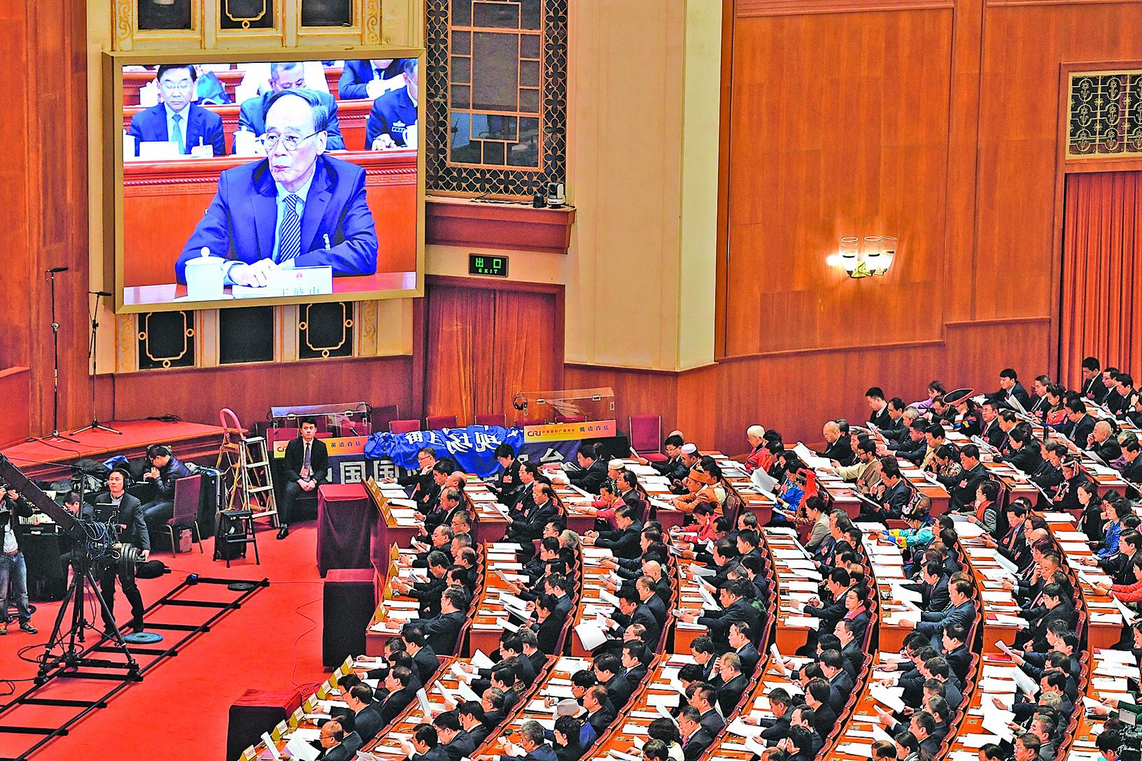 王岐山「當選」國家副主席,「習王體制」確立 。(AFP)