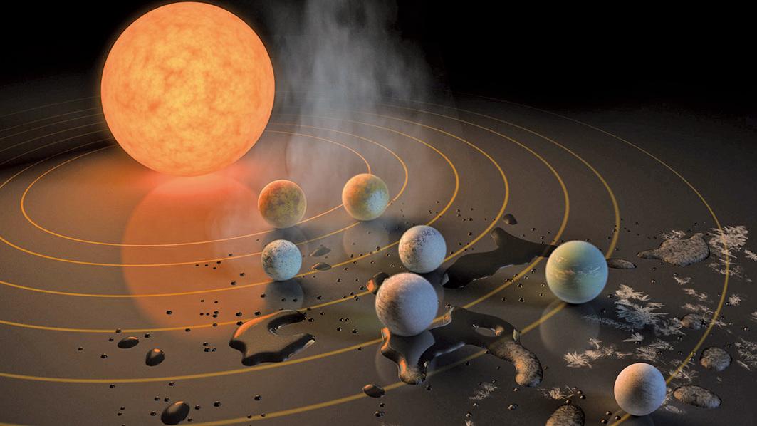 40光年外TRAPPIST-1星系所含行星模式圖。(來源:NASA)