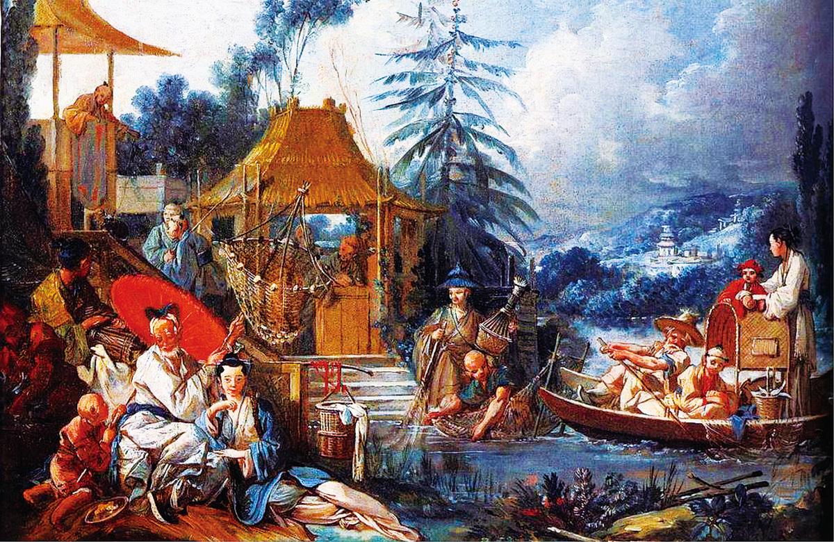 弗朗索瓦布歇(François Boucher)的中國風油畫《La Pêche chinoise(中國捕魚風光)》,繪於1742年,亦博韋二期壁毯的設計圖之一。