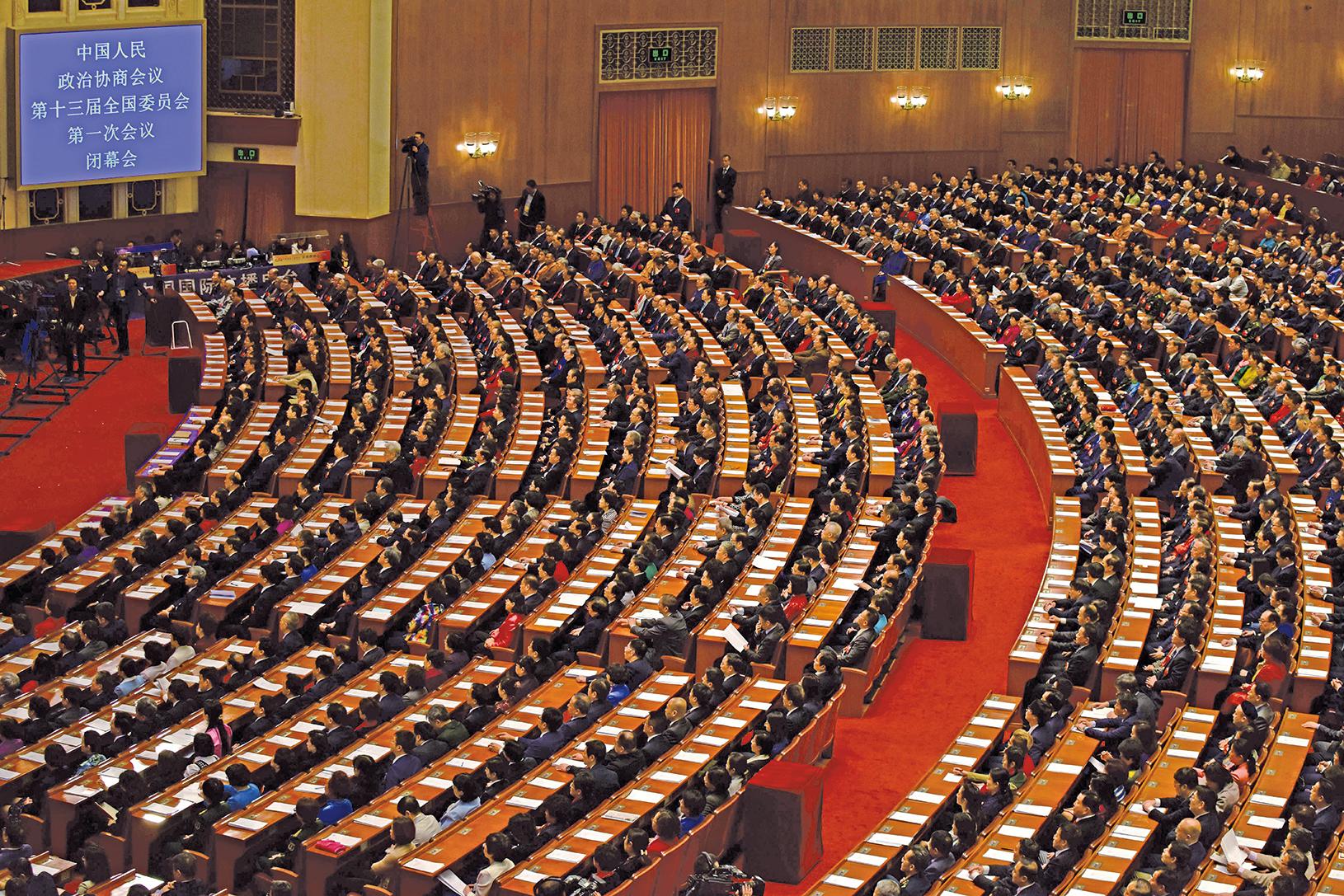 中共政協高層名單出爐,為政協系統的變革清洗行動埋下伏筆。圖為3月15日,中共政協會議閉幕。(Getty Images)