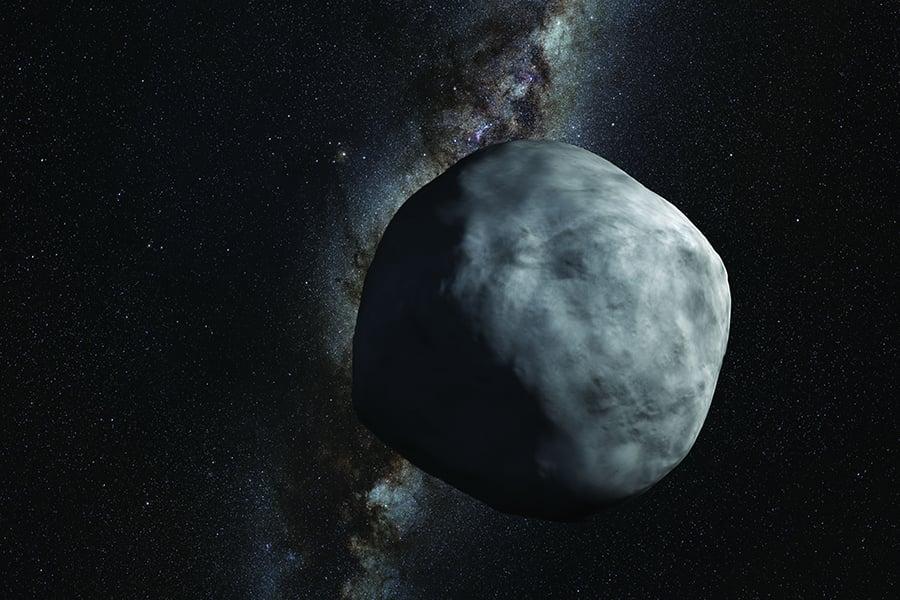 小行星「貝努」(Bennu)可能在2135年撞擊地球,美國科學家正在研究以太空船將它撞開或炸開的方式,使其轉向。圖為此小行星的示意圖。(NASA)