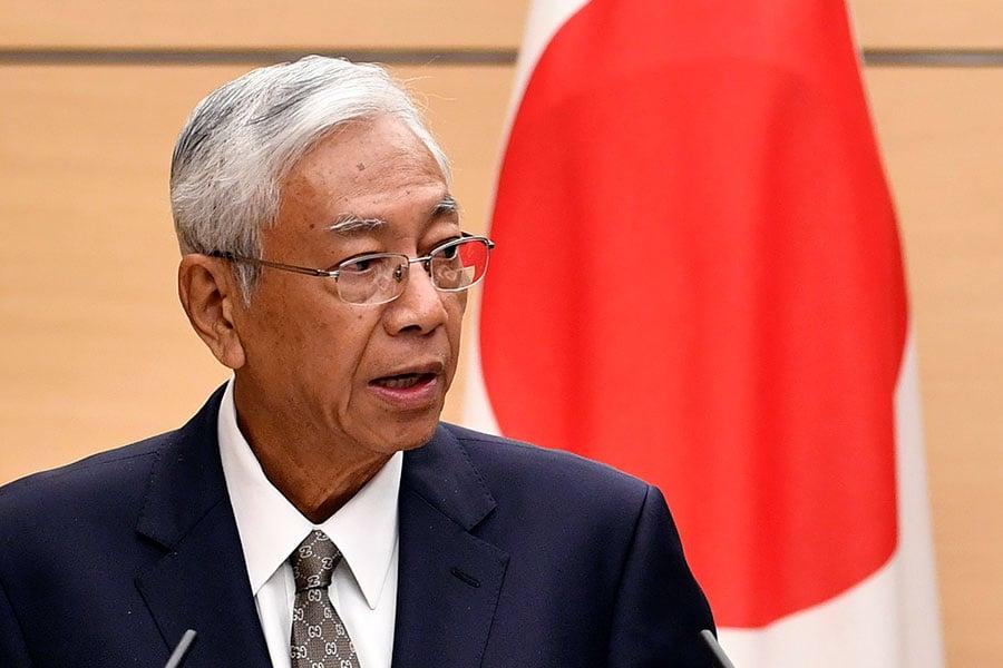 緬甸總統吳廷覺於2018年3月21日,透過辦公室的官方Facebook宣佈辭職。(FRANCK ROBICHON/AFP/Getty Images)