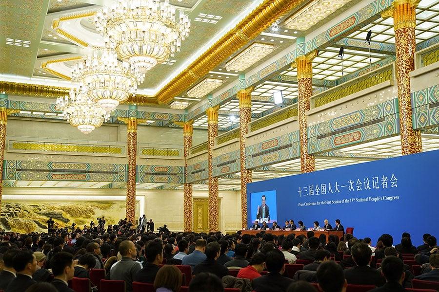 圖為3月20日的「總理記者會」。(Lintao Zhang/Getty Images)