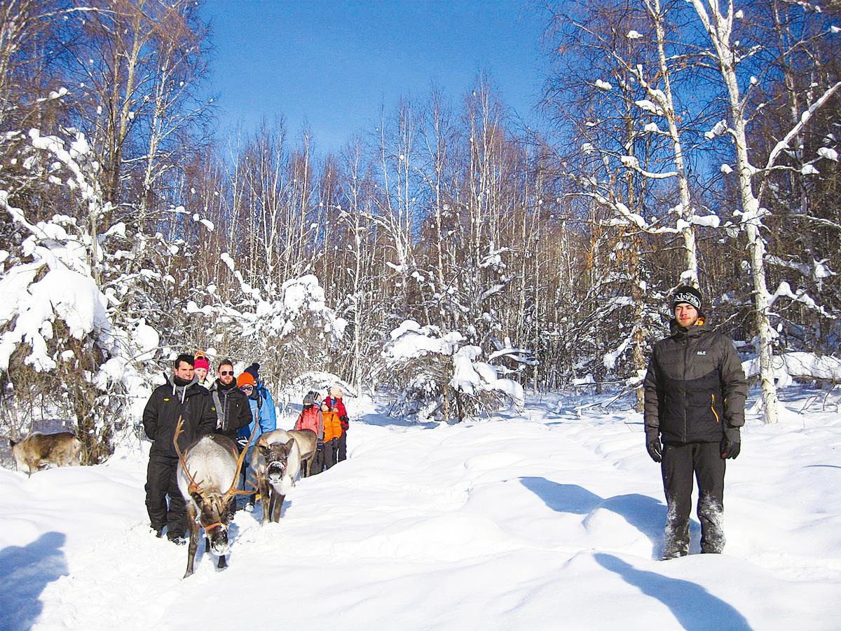 參觀「奔跑的馴鹿牧場」(Running Reindeer Ranch),與馴鹿在山林雪原上散步。(徐曼沅/大紀元)