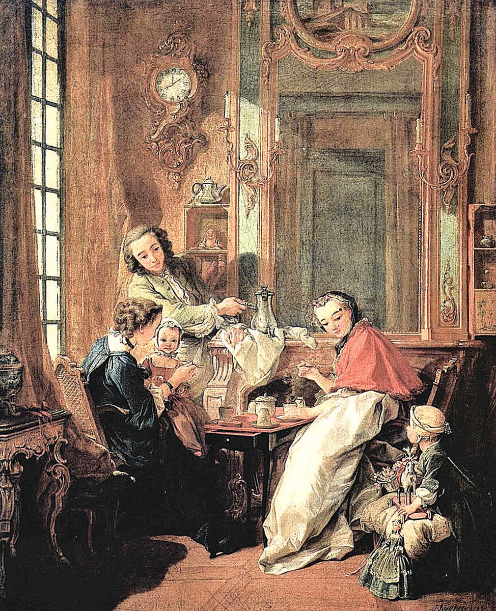 弗朗索瓦布歇(François Boucher)的中國風油畫《早晨的喝咖啡時間》(Le Dejeuner )。(公有領域)