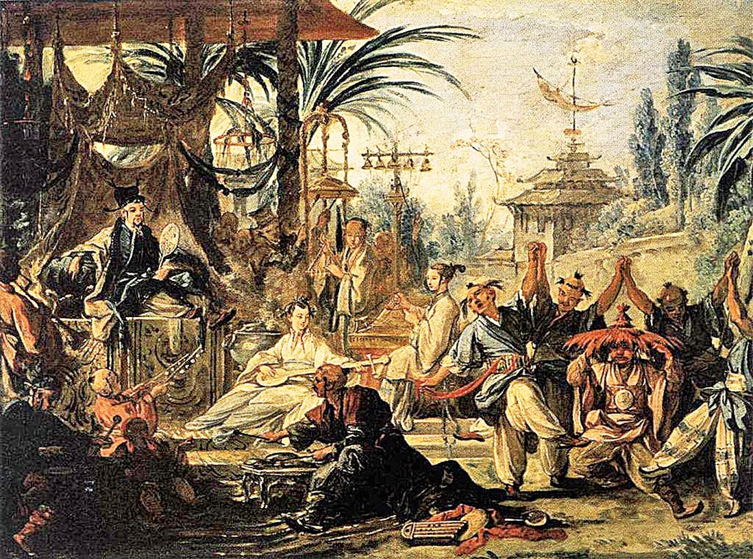 弗朗索瓦布歇(François Boucher)的中國風油畫《中國舞蹈》(La Danse chinoise),亦博韋二期壁毯設計稿之一。(公有領域)