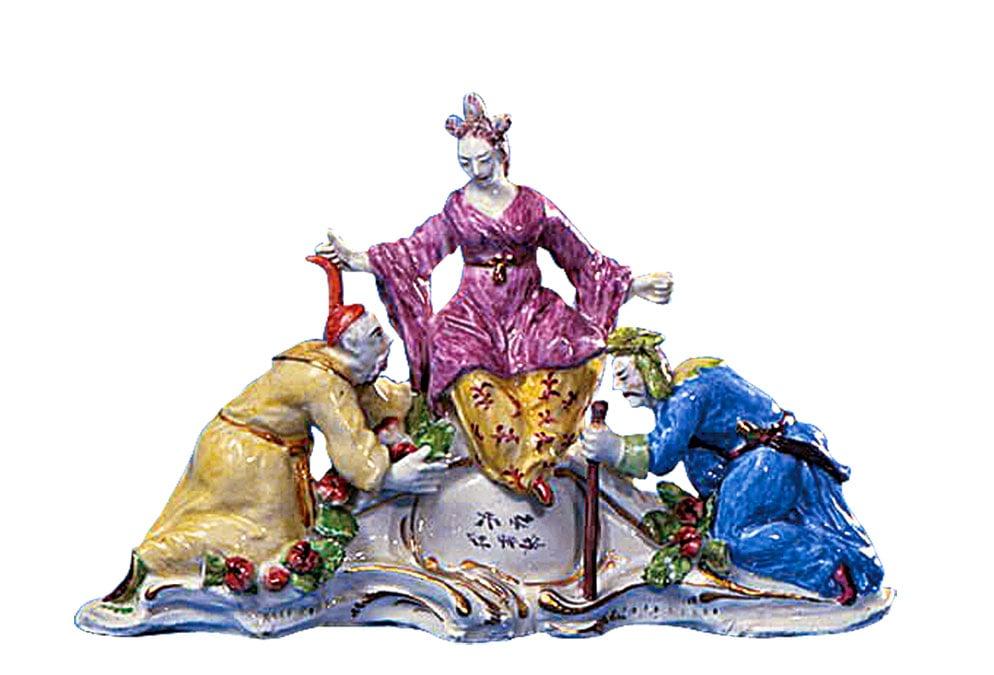 鮑瓷器廠(Bow Porcelain Factory)製作的《中國女神紀某紹》(Idole de la Deesse Ki Mao sao)的仿製瓷雕,1750年左右。(公有領域)