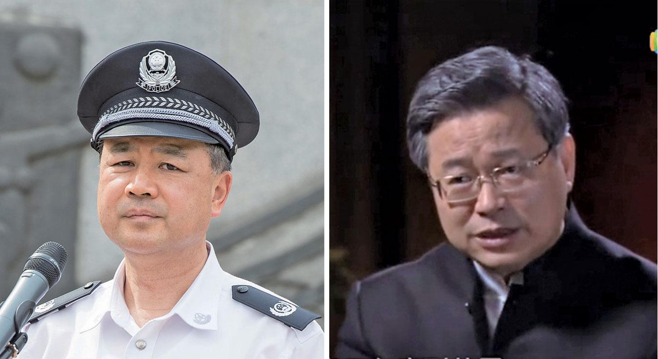 新任中共公安部常務副部長王小洪(左)和中共政法委秘書長陳一新(右)。(大紀元資料室/視頻截圖)