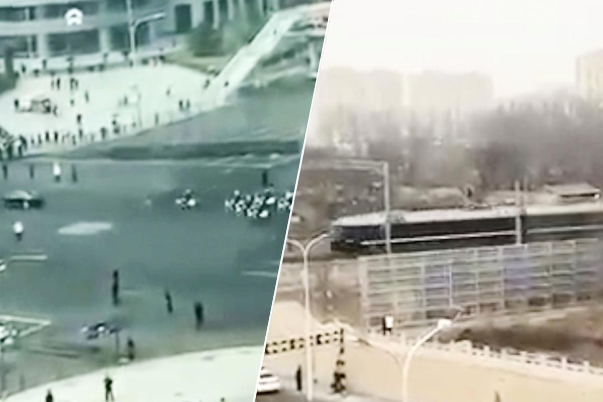 據稱是金正恩乘坐的列車從鴨綠江開往北京。(視像擷圖)