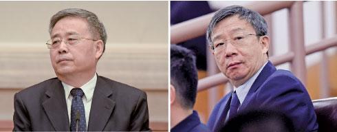 郭樹清(左)出任中共央行黨委書記、副行長,易綱(右)任央行行長、黨委副書記。(Getty Images)