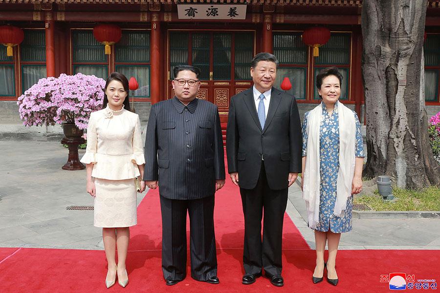 3月27日,國家主席習近平在北京與來訪的北韓領導人金正恩會晤。(AFP/Getty Images)