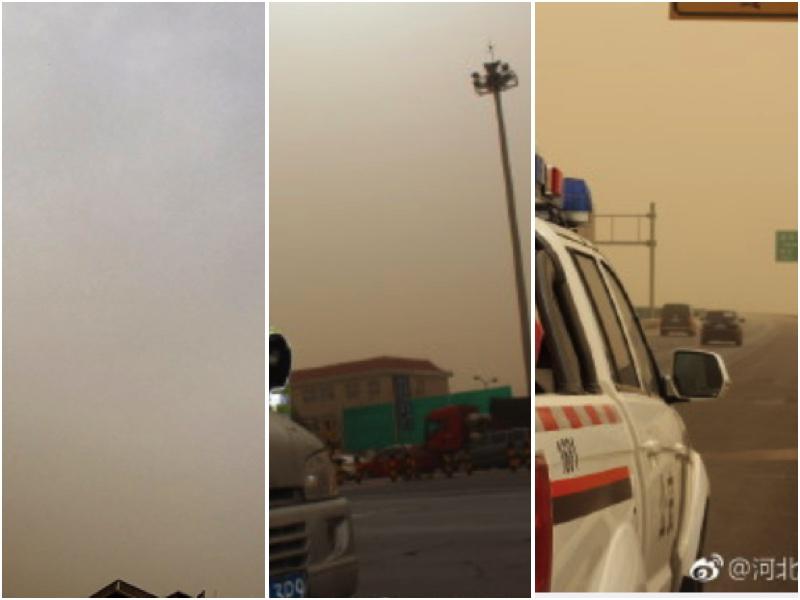 北韓最高領導人金正恩訪問北京之際,北京遭遇了不太可能霧霾與沙塵暴同時出現的極端情況,民間調侃稱金正恩帶來了沙塵暴。並將沙塵暴冠之「友誼之沙」。(網絡圖片/大紀元合成)