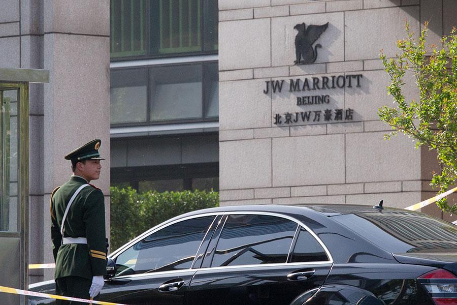 圖為北京JW萬豪酒店。(Ed Jones/AFP/GettyImages)