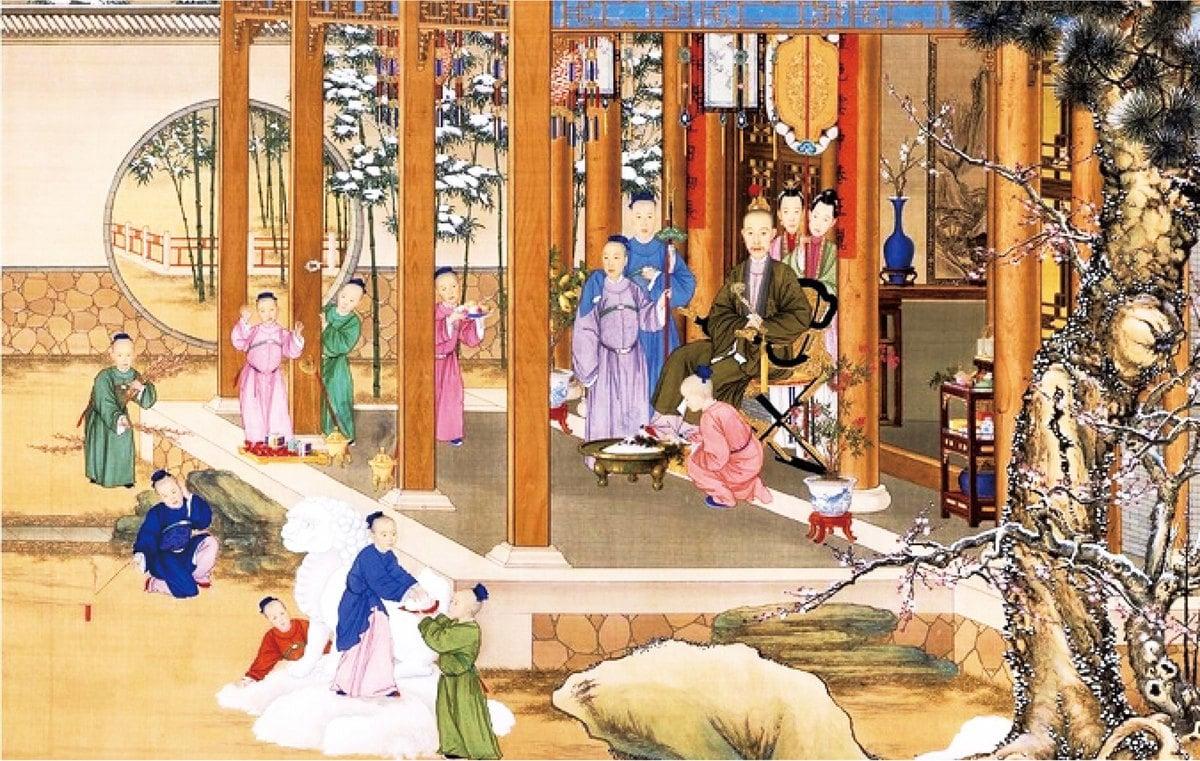 《弘曆雪景行樂圖》軸 清 郎世寧等繪。(維基百科)
