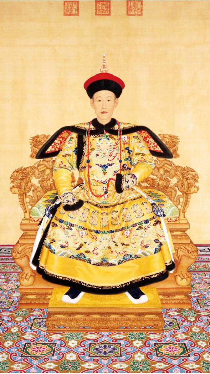 乾隆帝朝服像 清 郎世寧繪。(維基百科)