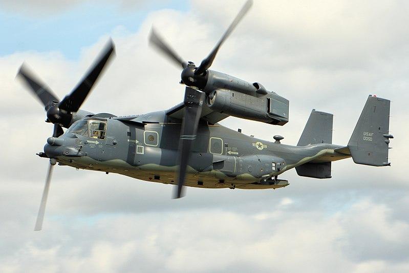 周二(4月3日),美國軍方表示,本周晚些時候,5架美國空軍CV-22型魚鷹(Osprey)傾轉旋翼機將在東京的橫田(Yokota)空軍基地部署。(Airwolfhound/WikiMedia Commons)
