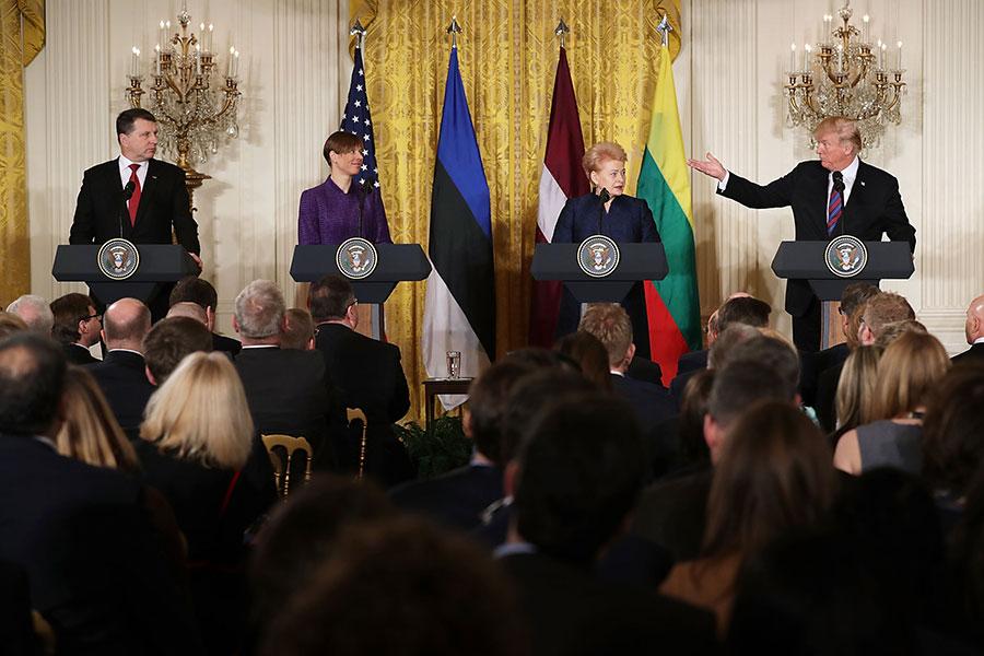 特朗普周二(4月3日)與波羅的海領導人會晤並舉行記者會。(Chip Somodevilla/Getty Images)