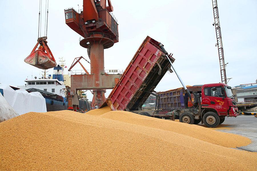 圖為4月8日,江蘇省南通市一個港口正在處理外國進口的大豆。(AFP/Getty Images)