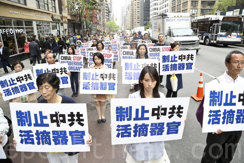 近萬名來自世界各地部分法輪功修煉學員在紐約曼哈頓參加慶祝「5•13」世界法輪大法日大遊行。(余鋼/大紀元)