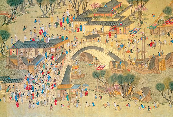 明 仇英《清明上河圖》描繪出明朝中期蘇州繁榮的景象(局部)。(國立故宮博物院收藏)