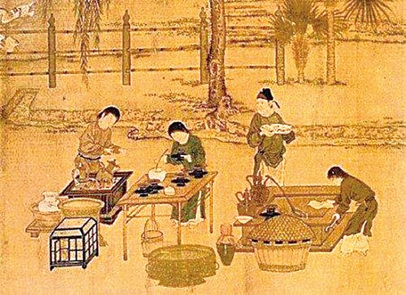 陸羽從小跟著禪師學會煎茶。圖為煎茶的場景(公有領域)