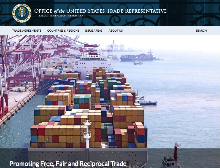 媒體報道說,歐盟和日本要求加入特朗普政府在世界貿易組織起訴中國(共)涉嫌歧視性技術許可的案件。(USTR擷圖)