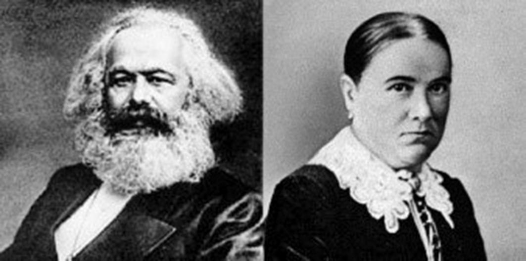 左為馬克思,右為女傭海倫德穆特。(合成圖片)