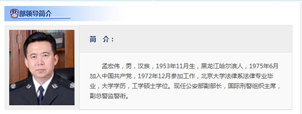 中共公安部副部長孟宏偉,已不再任公安部黨委委員。(網頁擷圖)