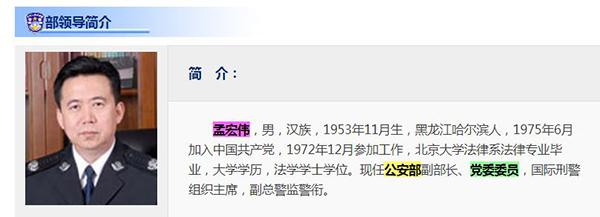 孟宏偉此前一直任公安部副部長、黨委委員。(網頁擷圖)