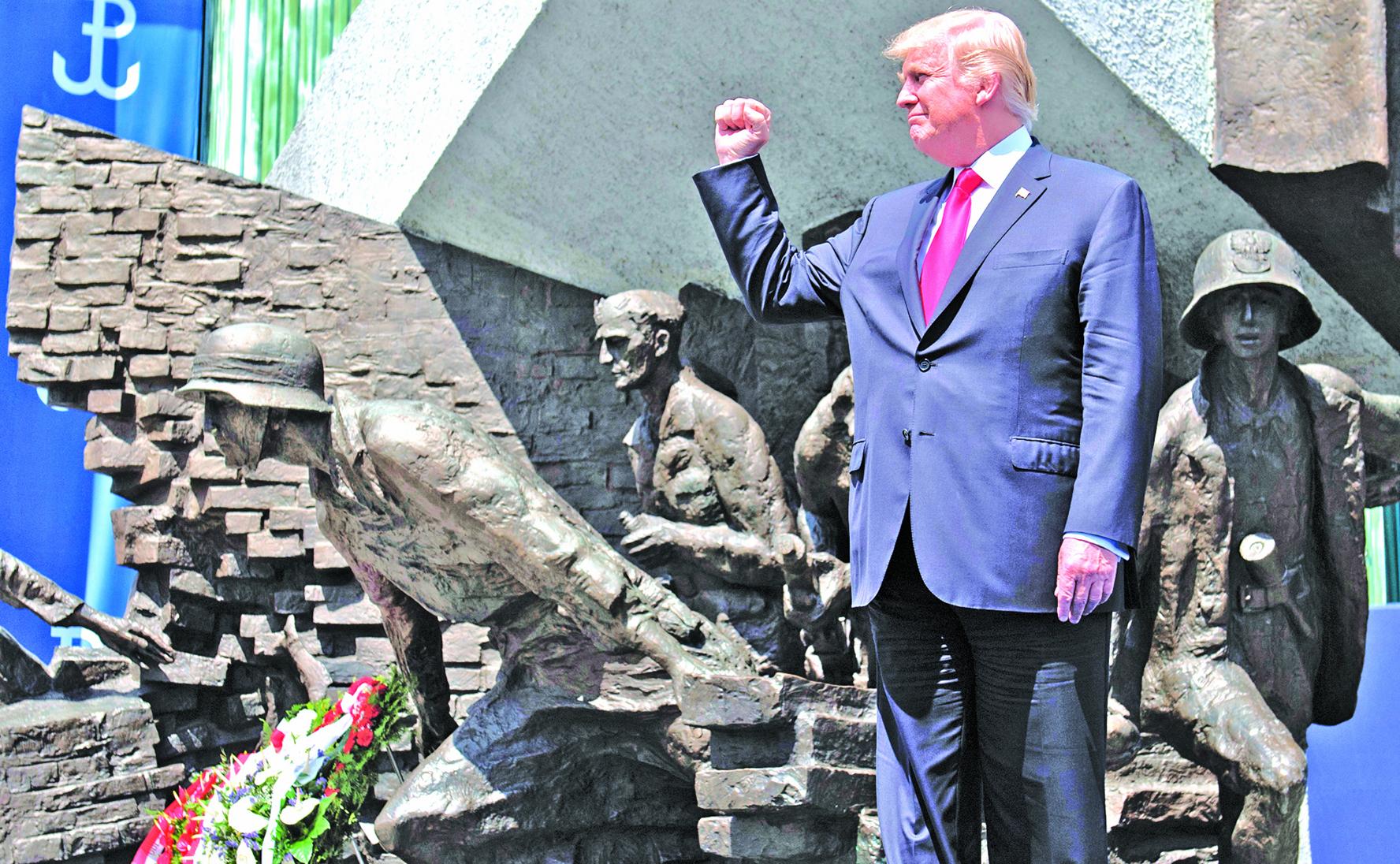 特朗普去年7月在波蘭華沙訪問。他在華沙的一個演講中表示,西方必須有對抗共產主義的決心。(AFP)