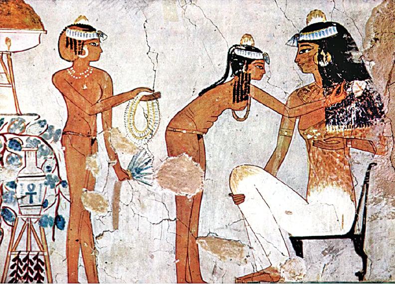 古埃及的貴婦和奴隸服飾。