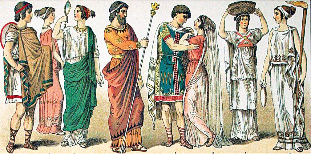 古希臘人服飾描繪。Albert Kretschmer繪製。