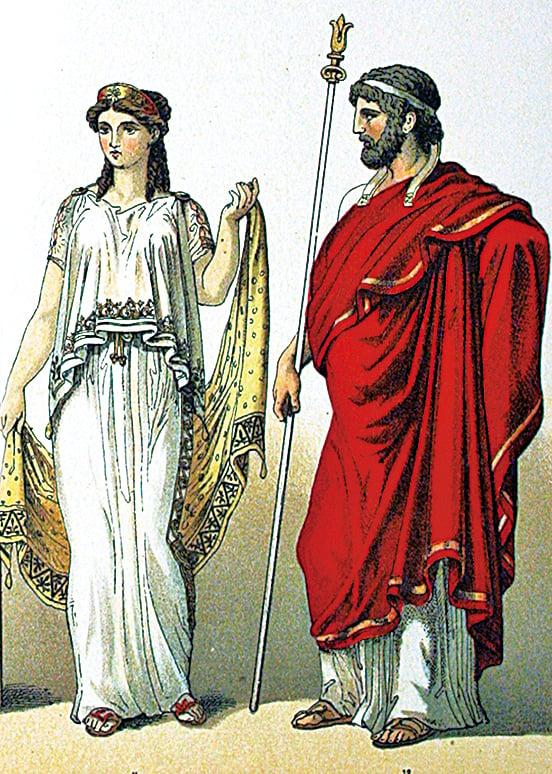 古希臘人服飾描繪。 Albert Kretschmer繪製。