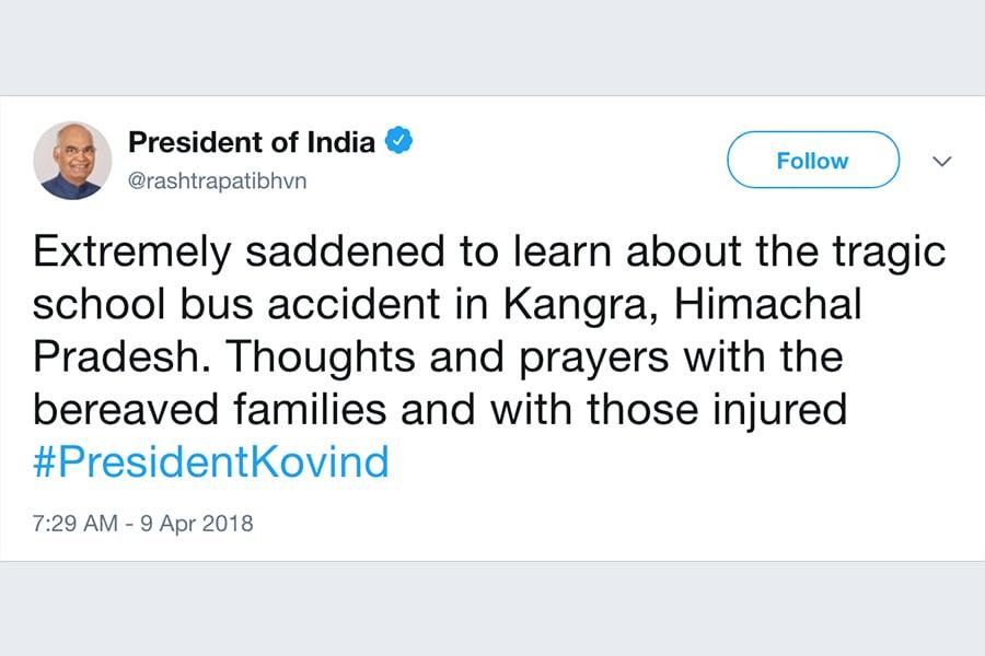 印度總統科文德(Ram Nath Kovind)周一深夜透過總理辦公室在推特上發文對這場事故表達哀悼。(推特擷圖)