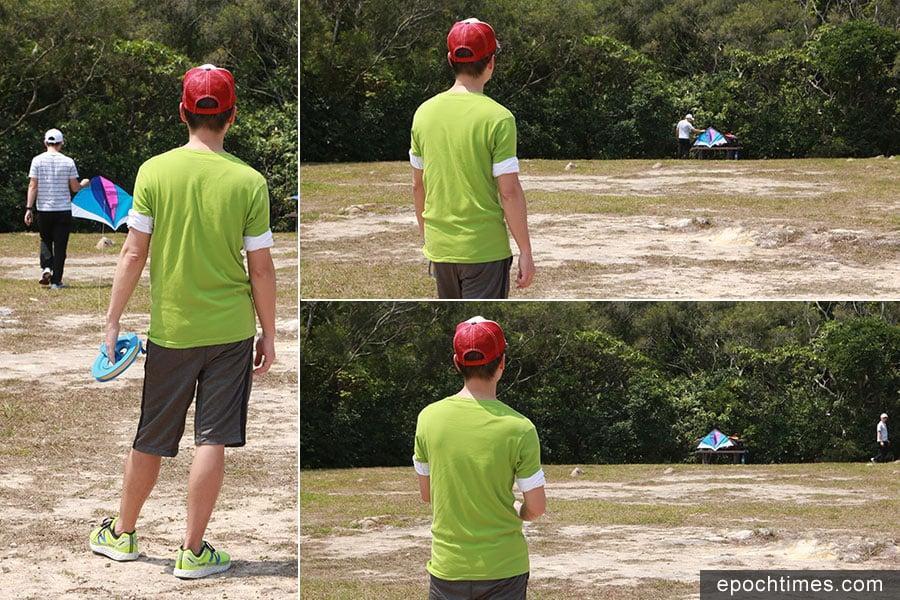 放風箏時,最好二人協作,先放線,將風箏拋起,再收線扯起,遇到風再慢慢放線。(陳仲明/大紀元)