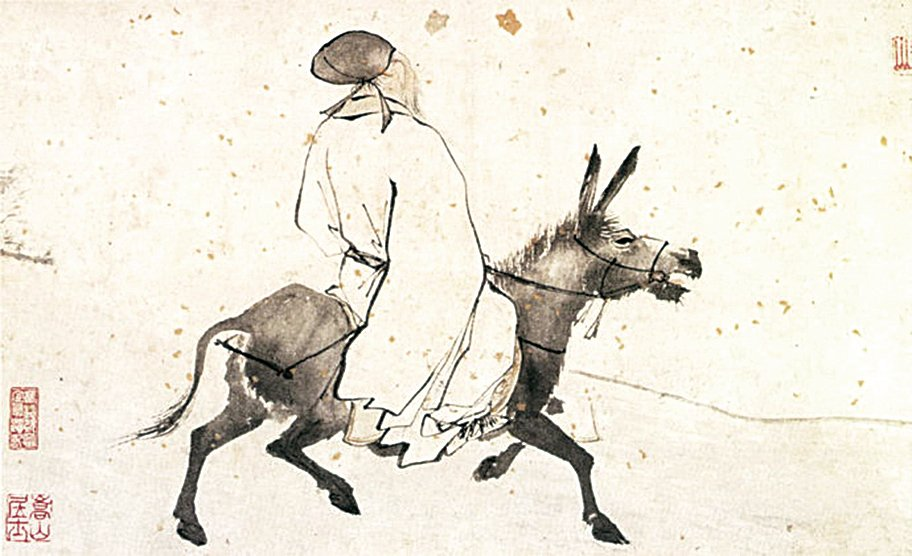 明 張路〈騎驢圖〉(公有領域)