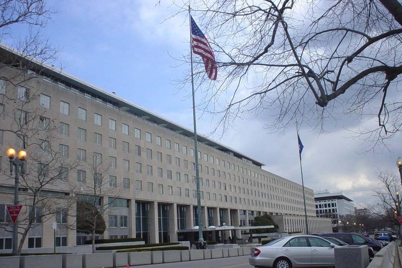中共預告18日在台海水域舉行實彈射擊軍演。美國國務院表示對中共的軍事能力與不透明的戰略意圖表達關切。圖為美國國務院。(林威/大紀元)