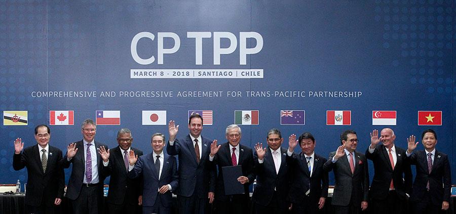 TPP的11個成員國8日在智利簽署《跨太平洋夥伴關係全面與進展協定》(CPTPP),預計最快今年底生效。(CLAUDIO REYES/AFP/Getty Images)